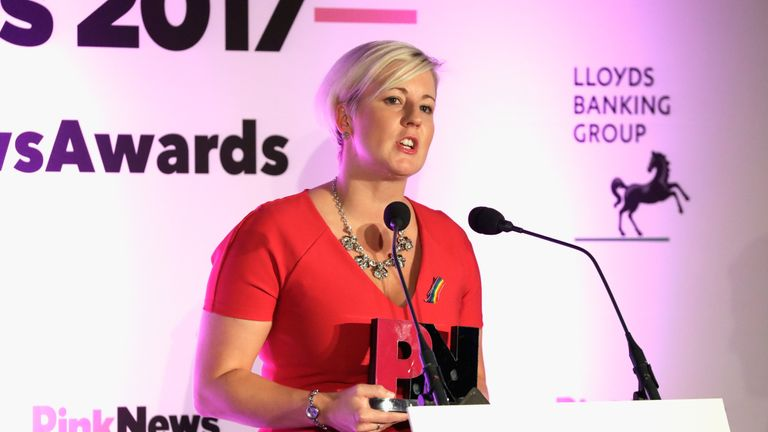 LONDON, ENGLAND - OCTOBER 18:  Joint winner of the Politician of the Year award, Hannah Bardell MP speaks on stage during the Pink News Awards 2017 held at One Great George Street on October 18, 2017 in London, England.  (Photo by John Phillips/Getty Images)