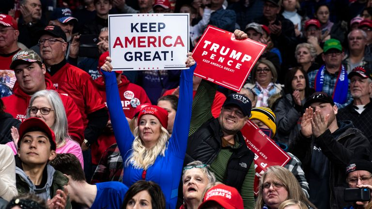 "TOLEDO, OH - JANUARY 09: Supporters cheer in the crowd as President Donald Trump speaks at a ""Keep America Great"" campaign rally at the Huntington Center on January 9, 2020 in Toledo, Ohio. President Trump won the swing state of Ohio in 2016 by eight points over his opponent Hillary Clinton. (Photo by Brittany Greeson/Getty Images)"