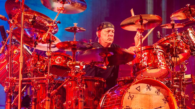 BIRMINGHAM, UNITED KINGDOM - MAY 26: Neil Peart at LG Arena on May 26, 2013 in Birmingham, England. (Photo by Steve Thorne/WireImage)
