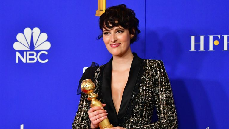 British actress Phoebe Waller-Bridge poses in the press room with the award for Best Performance by an Actress in a Television Series - Musical or Comedy during the 77th annual Golden Globe Awards on January 5, 2020, at The Beverly Hilton hotel in Beverly Hills, California. (Photo by FREDERIC J. BROWN / AFP) (Photo by FREDERIC J. BROWN/AFP via Getty Images)