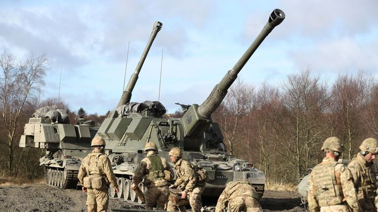 British Army soldiers are joined by French and Danish troops as they take part in a training exercise to prepare them for their roles in NATOs Very High Readiness Joint Task Force, at Otterburn Ranges in Northumberland.
