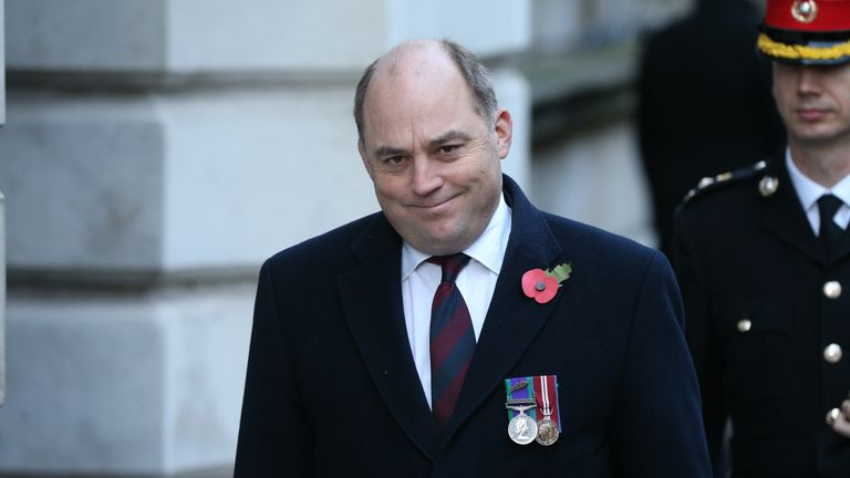 Defence Secretary Ben Wallace in Downing Street arriving for the Remembrance Sunday service at the Cenotaph memorial in Whitehall, central London. PA Photo. Picture date: Sunday November 10, 2019. See PA story ROYAL Remembrance. Photo credit should read: Jonathan Brady/PA Wire