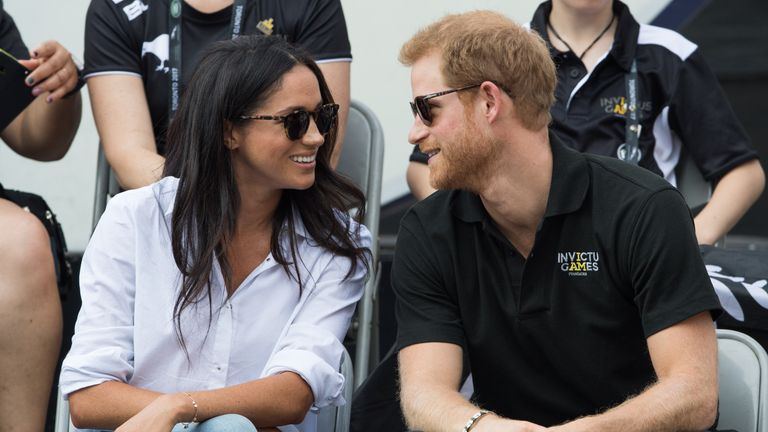 TORONTO, ON - SEPTEMBER 25: Meghan Markle and Prince Harry appear together at the wheelchair tennis on day 3 of the Invictus Games Toronto 2017 on September 25, 2017 in Toronto, Canada. The Games use the power of sport to inspire recovery, support rehabilitation and generate a wider understanding and respect for the Armed Forces. (Photo by Samir Hussein/WireImage)
