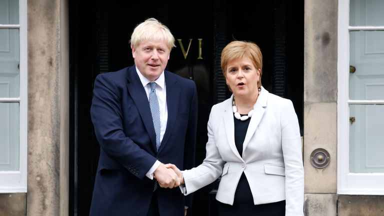 EDINBURGH, SCOTLAND - JULY 29: Scotland's First Minister Nicola Sturgeon welcomes Prime Minister Boris Johnson outside Bute House on July 29, 2019 in Edinburgh, Scotland. The PM is due to announce £300m of funding to help communities in Scotland, Wales and Northern Ireland. (Photo by Duncan McGlynn/Getty Images)