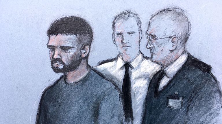 Court artist sketch by Elizabeth Cook of Jed Foster appearing at Reading Magistrates Court charged with the murder of PC Andrew Harper who was dragged under the wheels of a vehicle.