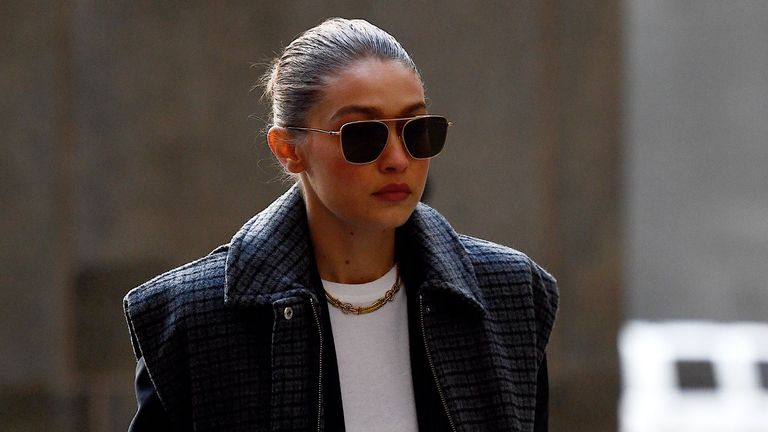 Model Gigi Hadid arrives at Manhattan Criminal Court, on January 16, 2020, in New York City. - Hadid has been called as a potential juror in disgraced movie producer Harvey Weinstein's rape and sexual assault trial, adding a fresh celebrity twist to the high-profile proceedings. (Photo by Johannes EISELE / AFP) (Photo by JOHANNES EISELE/AFP via Getty Images)