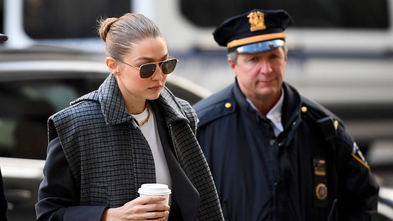 Model Gigi Hadid arrives at Manhattan Criminal Court, on January 16, 2020, in New York City. - Hadid was excused Thursday from serving as a juror in former film producer Harvey Weinstein's rape and sexual assault trial, US media reported. (Photo by Johannes EISELE / AFP) (Photo by JOHANNES EISELE/AFP via Getty Images)