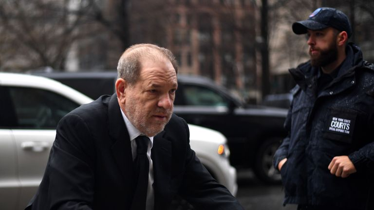 Harvey Weinstein arrives at Manhattan Criminal Court, on January 16, 2020, in New York City. (Photo by Johannes EISELE / AFP) (Photo by JOHANNES EISELE/AFP via Getty Images)
