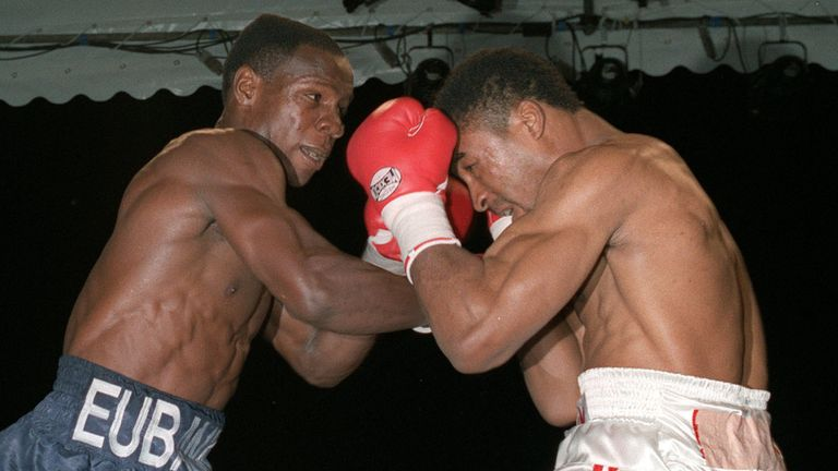 Chris Eubank and Michael Watson in action during their WBO title fight at Tottenham's White Hart Lane ground in London