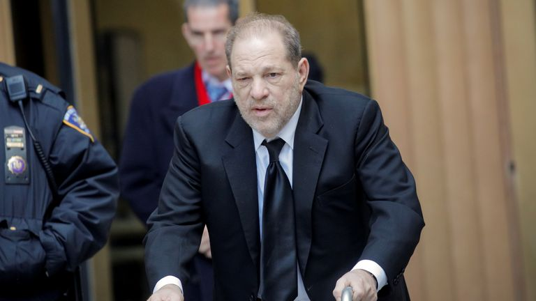 Film producer Harvey Weinstein exits New York Criminal Court during a break in his sexual assault trial in the Manhattan borough of New York City, New York, U.S., January 16, 2020. REUTERS/Brendan McDermid