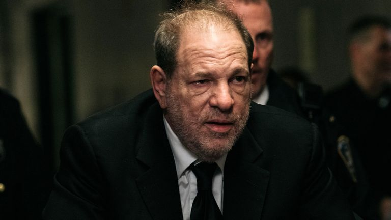 NEW YORK, NY - JANUARY 16: Harvey Weinstein enters New York City Criminal Court for his sex crimes trial on January 16, 2020 in New York City. Weinstein, a movie producer whose alleged sexual misconduct helped spark the #MeToo movement, pleaded not-guilty on five counts of rape and sexual assault against two unnamed women and faces a possible life sentence in prison. (Photo by Scott Heins/Getty Images)