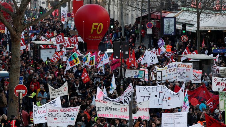 French labour unions and workers on strike attend a demonstration against French government's pensions reform plans in Paris as France faces its 43rd consecutive day of strikes January 16, 2020. REUTERS/Benoit Tessier
