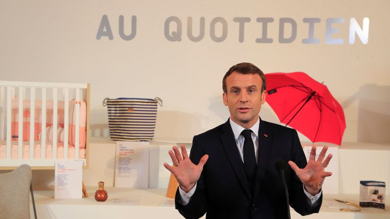 "French President Emmanuel Macron delivers a speech during the opening day of the ""Made in France"" event at the Elysee Palace, in Paris, France, January 17, 2020. Michel Euler/Pool via REUTERS"