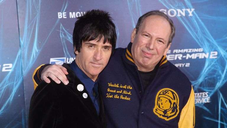 "NEW YORK, NY - APRIL 24: Musician Johnny Marr and composer Hans Zimmer attends the ""The Amazing Spider-Man 2"" New York Premiere on April 24, 2014 in New York City.  (Photo by Jim Spellman/WireImage)"