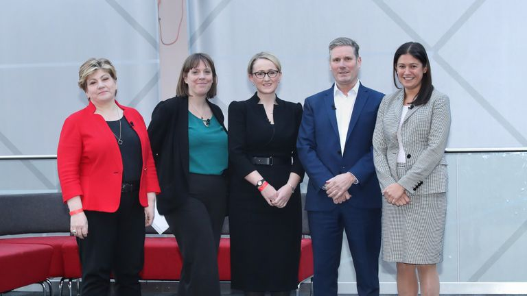 (left to right) Emily Thornberry, Jess Phillips, Rebecca Long-Bailey, Keir Starmer and Lisa Nandy before the Labour leadership husting at the ACC Liverpool.