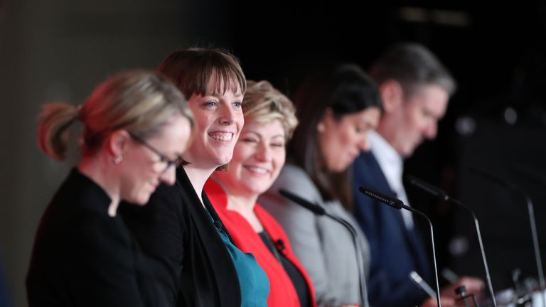 (left to right) Rebecca Long-Bailey, Jess Phillips, Emily Thornberry, Lisa Nandy and Keir Starmer during the Labour leadership husting at the ACC Liverpool.