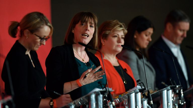 (L-R) British Labour leadership candidate, Jess Phillips (2L) speaks as Rebecca Long-Bailey, Emily Thornberry, Lisa Nandy and Keir Starmer look on during the Leader hustings event in Liverpool, north west England on January 18, 2020. - Five MPs formally have entered the race to succeed Jeremy Corbyn as leader of Britain's main opposition Labour party, and rebuild their movement after last month's disastrous election. (Photo by Paul ELLIS / AFP) (Photo by PAUL ELLIS/AFP via Getty Images)