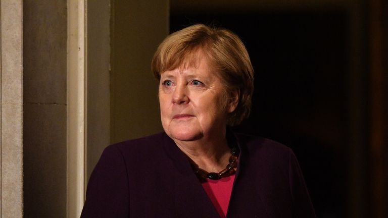 LONDON, ENGLAND - DECEMBER 03: German Chancellor Angela Merkel arrives at number 10 Downing Street for a reception on December 3, 2019 in London, England. France and the UK signed the Treaty of Dunkirk in 1947 in the aftermath of WW2 cementing a mutual alliance in the event of an attack by Germany or the Soviet Union. The Benelux countries joined the Treaty and in April 1949 expanded further to include North America and Canada followed by Portugal, Italy, Norway, Denmark and Iceland. This new military alliance became the North Atlantic Treaty Organisation (NATO). The organisation grew with Greece and Turkey becoming members and a re-armed West Germany was permitted in 1955. This encouraged the creation of the Soviet-led Warsaw Pact delineating the two sides of the Cold War. This year marks the 70th anniversary of NATO. (Photo by Leon Neal/Getty Images)