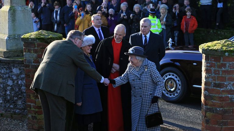 Britain's Prince Andrew, Duke of York, (R) accompanies Britain's Queen Elizabeth II as she arrives for a church service at St Mary the Virgin Church in Hillington, Norfolk, eastern England, on January 19, 2020. - Britain's Prince Harry and his wife Meghan will give up their royal titles and public funding as part of a settlement with the Queen to start a new life away from the British monarchy. The historic announcement from Buckingham Palace on Saturday follows more than a week of intense private talks aimed at managing the fallout of the globetrotting couple's shock resignation from front-line royal duties. (Photo by Lindsey Parnaby / AFP) (Photo by LINDSEY PARNABY/AFP via Getty Images)