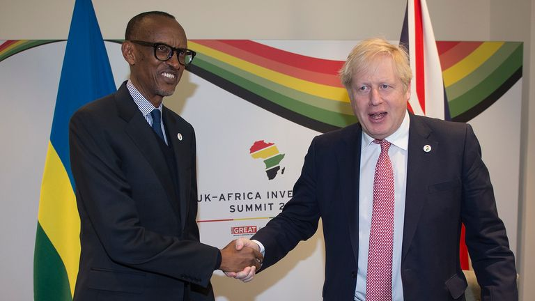 President of Rwanda Paul Kagame and Prime Minister Boris Johnson during the UK-Africa Investment Summit at the Intercontinental Hotel London.