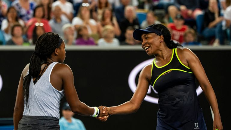 MELBOURNE, AUSTRALIA - JANUARY 20:  MELBOURNE, AUSTRALIA - JANUARY 20: Coco Gauff of the United States shakes hands with Venus Williams of the United States after beating her in the first round on day one of the 2020 Australian Open at Melbourne Park on January 20, 2020 in Melbourne, Australia. (Photo by TPN/Getty Images)