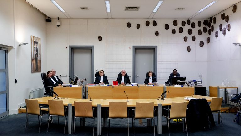 Members of the court in Assen, on January 21, 2020 pose before a hearing in the criminal case against prime suspect Gerrit Jan van D. and the Austrian tenant and handyman Josef B. in the Ruinerwold case. - The two suspects are, among other things, suspected of improper deprivation of liberty. (Photo by Robin VAN LONKHUIJSEN / ANP / AFP) / Netherlands OUT (Photo by ROBIN VAN LONKHUIJSEN/ANP/AFP via Getty Images)