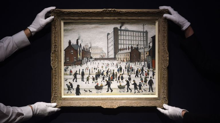 """LONDON, ENGLAND - JANUARY 13: Artwork 'The Mill, Pendlebury' by L.S Lowry on display during the """"Modern British Art Highlights"""" photocall at Christie's on January 13, 2020 in London, England. (Photo by Stuart C. Wilson/Getty Images)"""