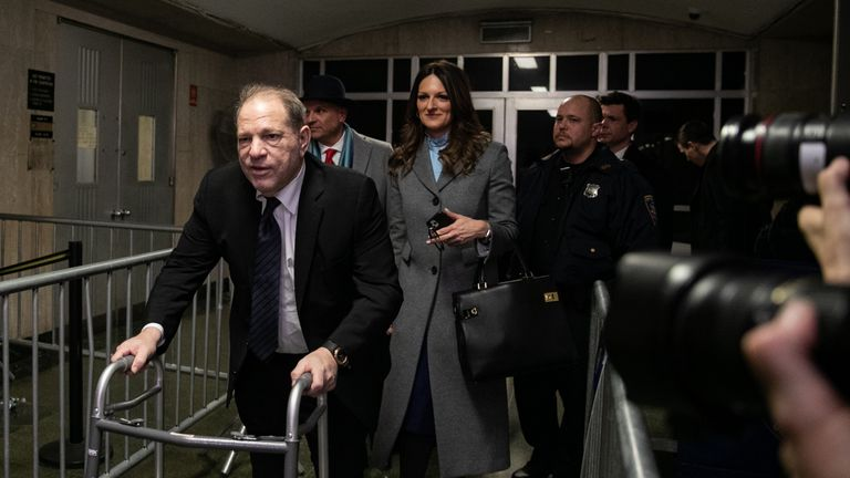 NEW YORK, NY - JANUARY 22: Harvey Weinstein leaves with his attorney Donna Rotunno at New York City Criminal Court on January 22, 2020 in New York City. Weinstein, a movie producer whose alleged sexual misconduct helped spark the #MeToo movement, pleaded not-guilty on five counts of rape and sexual assault against two unnamed women and faces a possible life sentence in prison. (Photo by Jeenah Moon/Getty Images)