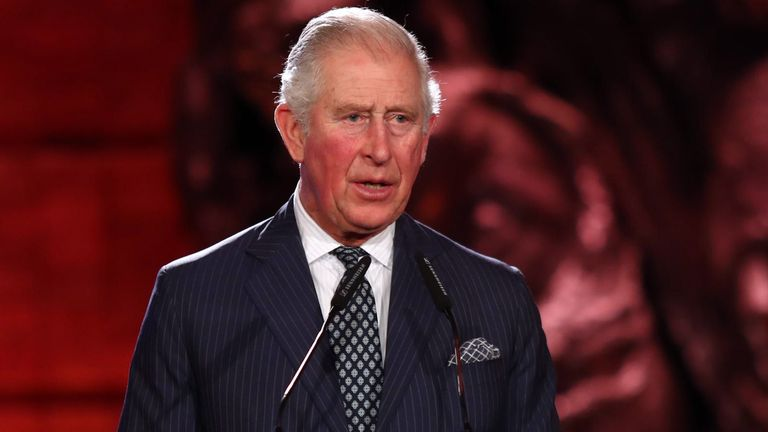 "JERUSALEM, ISRAEL - JANUARY 23: Prince Charles, Prince of Wales speaks at the 5th World Holocaust Forum at Yad Vashem Holocaust memorial museum on January 23, 2020 in Jerusalem, Israel. Heads of State gathering in Jerusalem to mark 75 years since the liberation of Auschwitz will be the ""largest diplomatic event in Israel's history,"" according to the country's Foreign Minister. (Photo by Oden Karni - Pool/Getty Images)"
