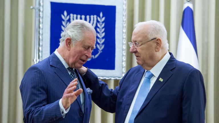 JERUSALEM, ISRAEL - JANUARY 23: Prince Charles, Prince of Wales is welcomed by Israeli President Reuven Rivlin to his official residence on January 23, 2020 in Jerusalem, Israel. (Photo by Julian Simmonds-Pool/Getty Images)