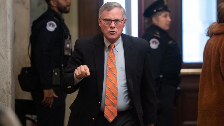 "US Senator Richard Burr (R-NC) arrives for the Senate impeachment trial of US President Donald Trump at the US Capitol in Washington, DC, January 21, 2020. - Sparks flew Tuesday over proposed rules for the Senate trial of President Donald Trump, as Democrats accused Republicans of attempting a ""cover-up"" of evidence that the US leader abused his powers. The first full day of the historic trial saw the Republican Senate leader Mitch McConnell submit a resolution on procedures that does not admit evidence from the investigation of the president. (Photo by SAUL LOEB / AFP) (Photo by SAUL LOEB/AFP via Getty Images)"