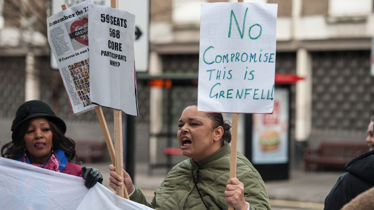 LONDON, ENGLAND - JANUARY 27: Survivors of the Grenfell Tower disaster and their allies protest outside the resumption of the inquiry on January 27, 2020 in London, England. The Grenfell Inquiry resumes near Paddington station in West London. (Photo by Guy Smallman/Getty Images)