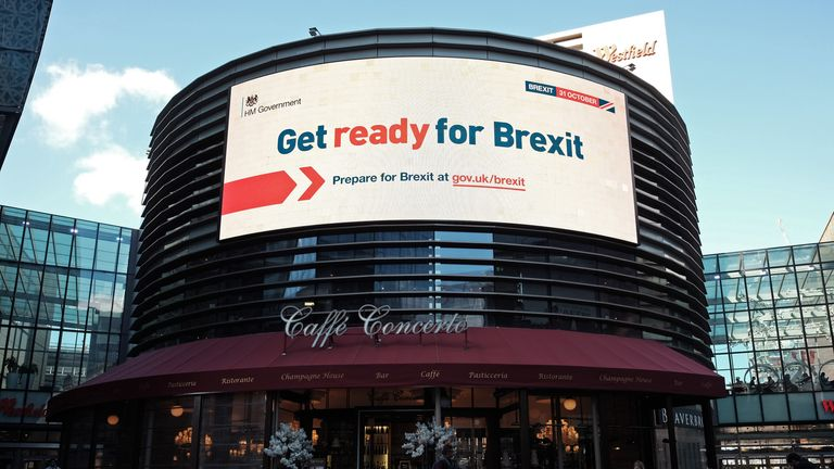 An electronic display showing a 'Get ready for Brexit' Government advert,in London.