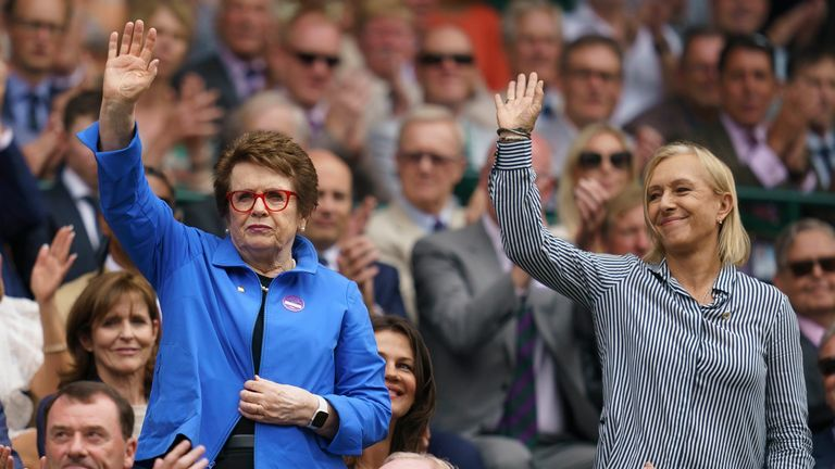 Jul 6, 2019; London, United Kingdom; Billie Jean King and Martina Navratilova in attendance in the Royal Box for the Ashleigh Barty (AUS) and Harriet Dart (GBR) match on day six at the All England Lawn and Croquet Club. Mandatory Credit: Susan Mullane-USA TODAY Sports