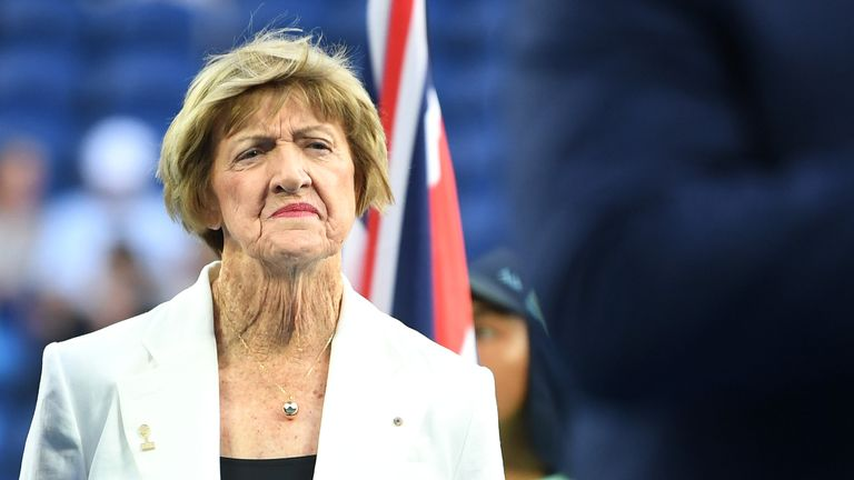 MELBOURNE, AUSTRALIA - JANUARY 28: Margaret Court looks on during a Tennis Hall of Fame ceremony on day nine of the 2020 Australian Open at Melbourne Park on January 28, 2020 in Melbourne, Australia. (Photo by Morgan Hancock/Getty Images)