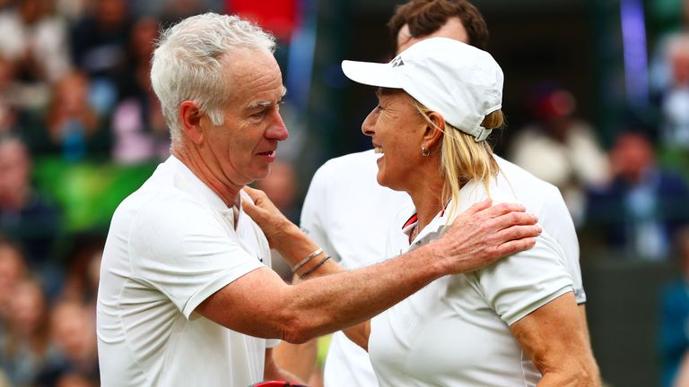 LONDON, ENGLAND - MAY 19:   John McEnroe of the United States speaks with Martina Navratilova of the United States at the net after the mixed doubles match between John McEnroe of the United States and his partner Kim Clijsters of Belgium and Martina Navratilova of the United States and Jamie Murray of Great Britain during the Wimbledon No. 1 Court Celebration in support of the Wimbledon Foundation at All England Lawn Tennis and Croquet Club on May 19, 2019 in London, England. (Photo by Dan Istitene/Getty Images)