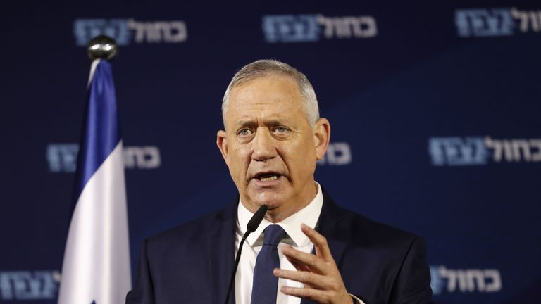 Retired Israeli General Benny Gantz, one of the leaders of the Blue and White (Kahol Lavan) political alliance, gives a press conference in Tel Aviv on January 25, 2020. - US President Donald Trump said on January 23 he will release a long-delayed plan for Mideast peace before a meeting in Washington next week with Israeli Prime Minister Benjamin Netanyahu and his rival Benny Gantz. (Photo by EMMANUEL DUNAND / AFP) (Photo by EMMANUEL DUNAND/AFP via Getty Images)