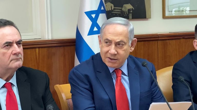 Israeli Prime Minister Benjamin Netanyahu chairs his weekly cabinet meeting at his office in Jerusalem on January 26, 2020. (Photo by Dedi HAYUN / POOL / AFP) (Photo by DEDI HAYUN/POOL/AFP via Getty Images)