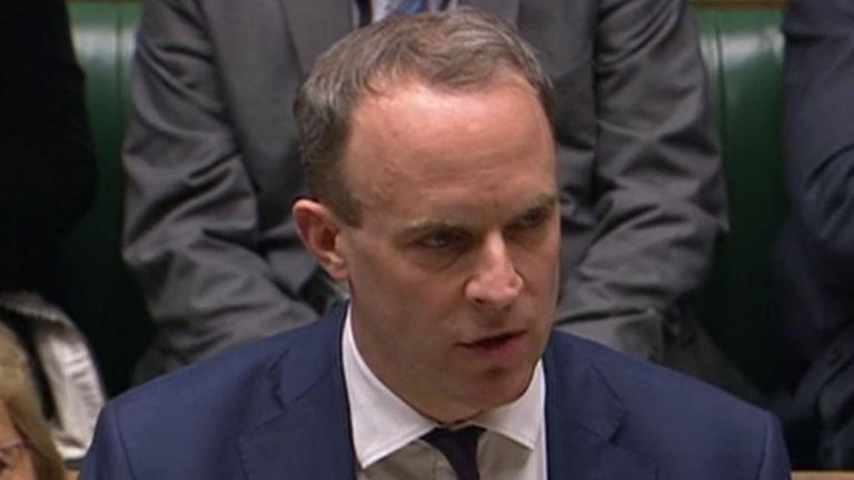 Foreign Secretary Dominic Raab updates MPs in the House of Commons, London on Chinese firm Huawei having a limited role in the UK's 5G network.