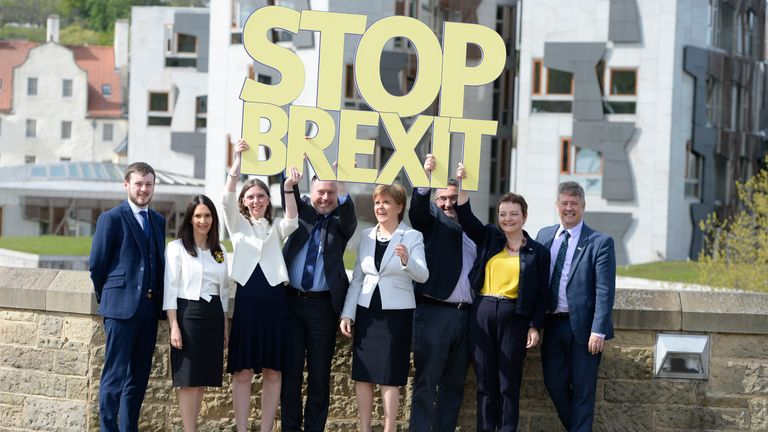 EDINBURGH, SCOTLAND - MAY 9: Scotland's First Minister and Scottish National Party leader Nicola Sturgeon poses with the SNP's six candidates as she launches the party's European election campaign, L to R: Alex Kerr, Margaret Ferrier, Aileen McLeod, Alyn Smith, Scotland's First Minister and SNP leader Nicola Sturgeon, Christian Allard, Heather Anderson and SNP Depute Leader Keith Brown on May 9, 2019 in Edinburgh, Scotland.