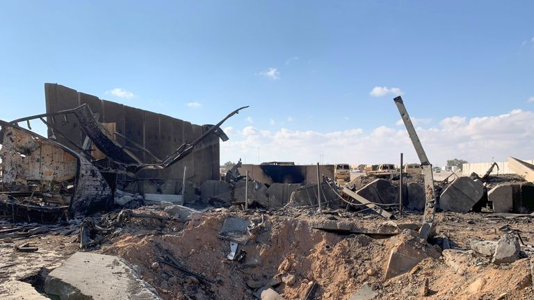A picture taken on January 13, 2020 during a press tour organised by the US-led coalition fighting the remnants of the Islamic State group, shows a view of the damage at Ain al-Asad military airbase housing US and other foreign troops in the western Iraqi province of Anbar. - Iran last week launched a wave of missiles at the sprawling Ain al-Asad airbase in western Iraq and a base in Arbil, capital of Iraq's autonomous Kurdish region, both hosting US and other foreign troops, in retaliation for the US killing top Iranian general Qasem Soleimani in a drone strike in Baghdad on January 3. (Photo by Ayman HENNA / AFP) (Photo by AYMAN HENNA/AFP via Getty Images)