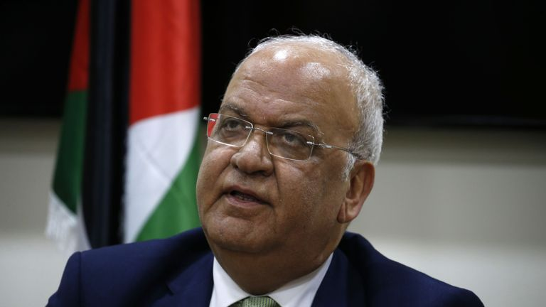 Saeb Erekat, secretary general of the Palestine Liberation Organisation (PLO), addresses the media following a meeting with Diplomats from contributing nations to the Temporary International Presence in Hebron (TIPH) in the West Bank city of Ramallah on January 30, 2019. - Israeli Prime Minister Benjamin Netanyahu said on January 28, 2019 he will not renew the mandate of the international observers in the flashpoint city of Hebron in the occupied West Bank, effectively closing the mission. The TIPH was established in the city following a massacre of Palestinians in 1994, but Netanyahu accused it of bias. (Photo by ABBAS MOMANI / AFP)        (Photo credit should read ABBAS MOMANI/AFP via Getty Images)