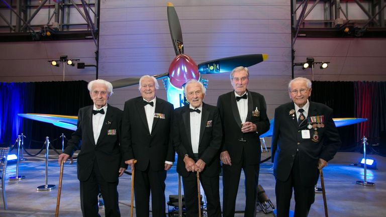 Battle of Britain veterans (left to right) Flying Officer Ken Wilkinson, pilot Geoffrey Wellum, Squadron Leader Tony Pickering, Wing Commander Paul Farnes and Spitfire fitter Sergeant Stan Hartill, all in their mid-to-late 90s, pose for a picture at RAF Northolt during the RAF Benevolent Fund's commemorative dinner to mark the 75th anniversary of the battle.