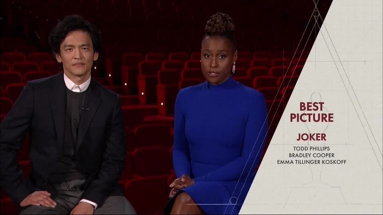 John Cho and Issa Rae announce the nominations for Best Picture.