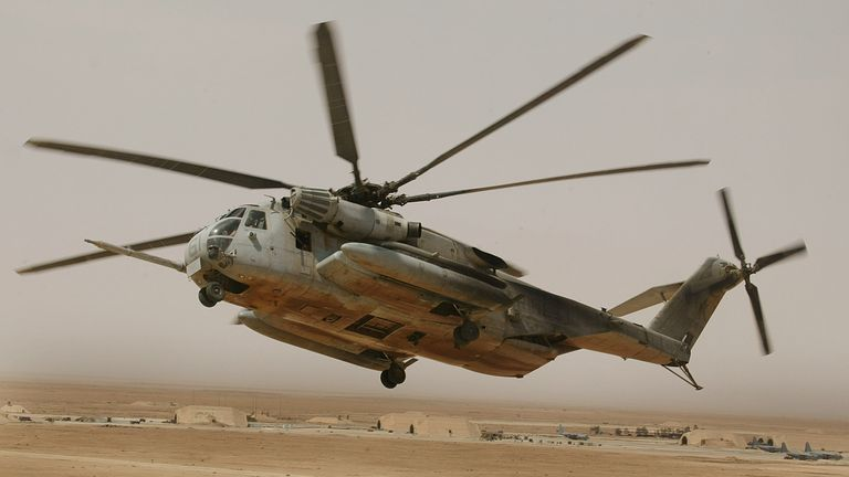A US Marine C853 helicopter takes off, 26 May 2004, from the al-Asad base in the west of Iraq for a mission.