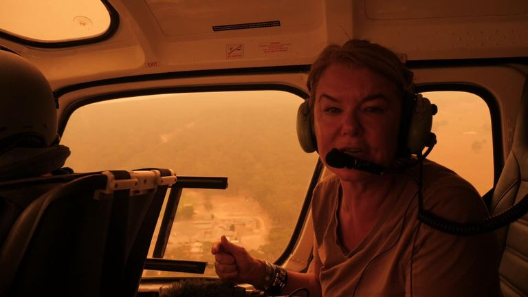 Sky News' special correspondent Alex Crawford flew across the fires in New South Wales