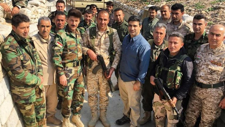 Philanthropist Amed Khan with the Peshmerga militia in 2016
