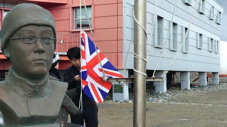 Raising the flag at the Korean station