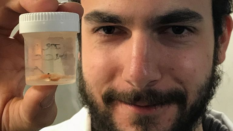 Scientist Julian Blumenroeder holding krill