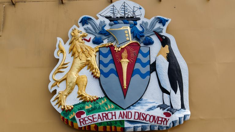 British Antarctic Territory's coat of arms on the James Clark Ross